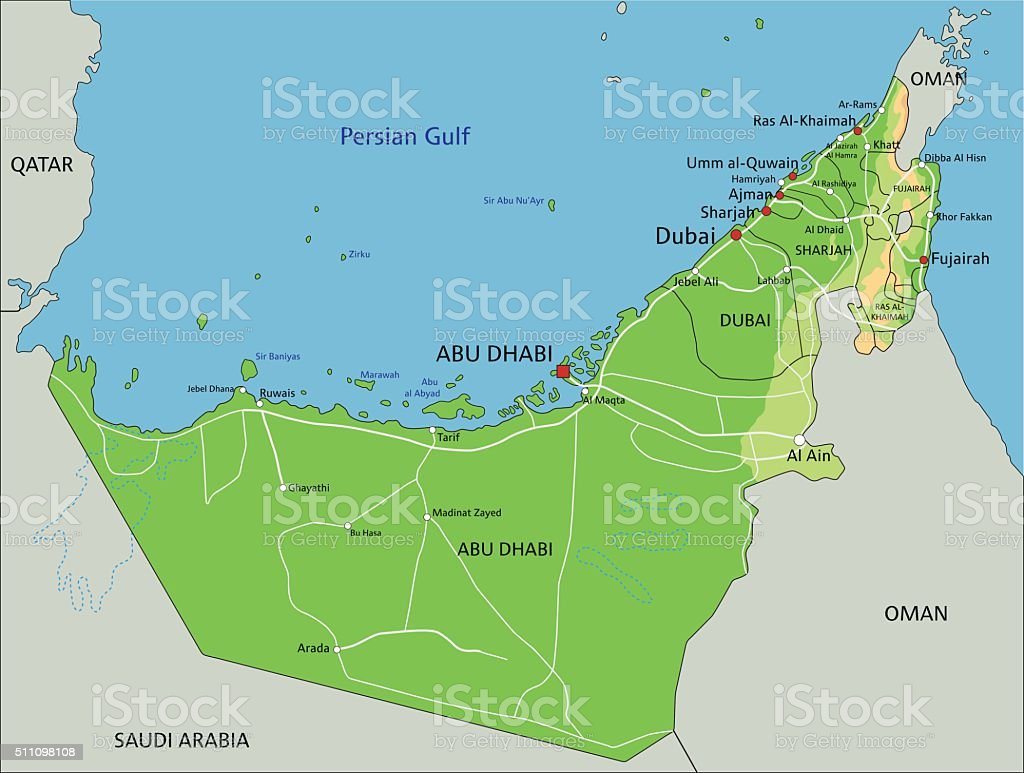 high detailed united arab emirates physical map with labeling royalty free high detailed united