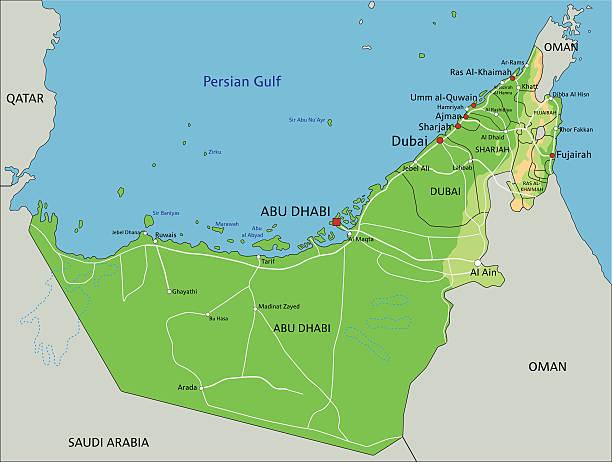 ilustraciones, imágenes clip art, dibujos animados e iconos de stock de alta detallada de los emiratos árabes unidos mapa físico con etiqueta. - mapa de oriente medio