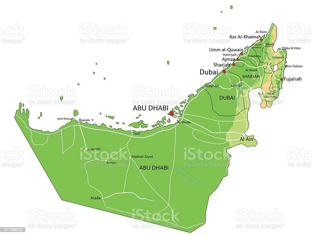 Alta detallada de los Emiratos Árabes Unidos mapa físico con etiqueta. - ilustración de arte vectorial