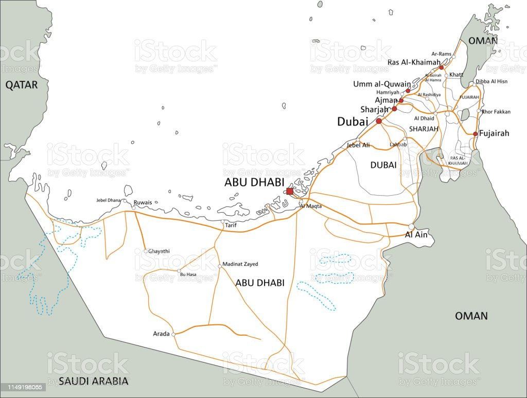 High Detailed United Arab Emirates Road Map With Labeling ...
