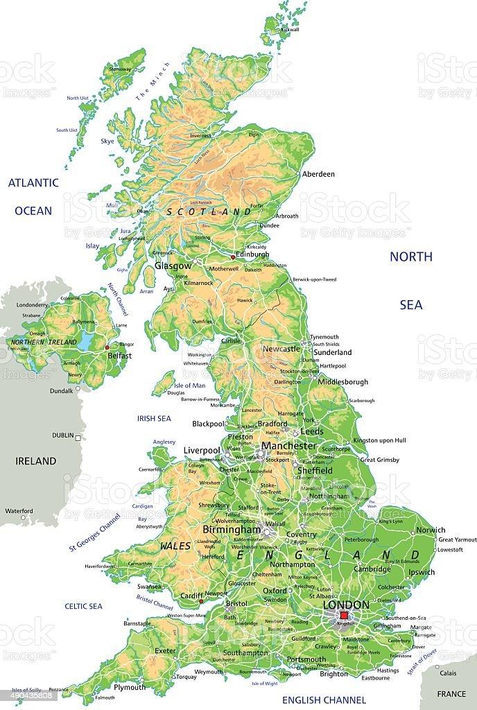 High detailed United Kingdom physical map. vector art illustration