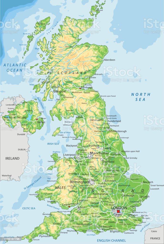 Cartina Geografica Politica Gran Bretagna.Mappa Fisica Del Regno Unito Con Etichettatura Immagini Vettoriali Stock E Altre Immagini Di Astratto Istock