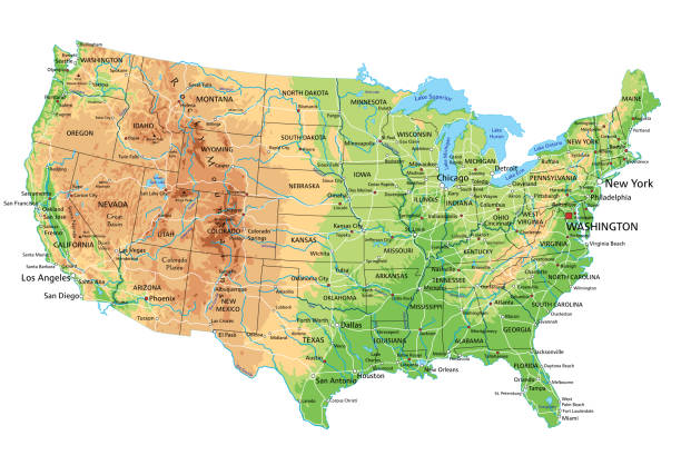 High detailed United States of America physical map with labeling. High detailed United States of America physical map with labeling. Organized vector illustration on seprated layers. western usa stock illustrations