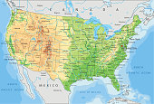 High detailed United States of America physical map with labeling. Organized vector illustration on seprated layers.