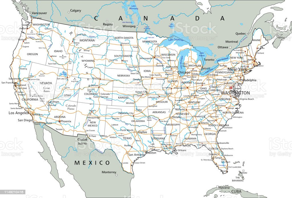 High Detailed United States Of America Road Map With ...