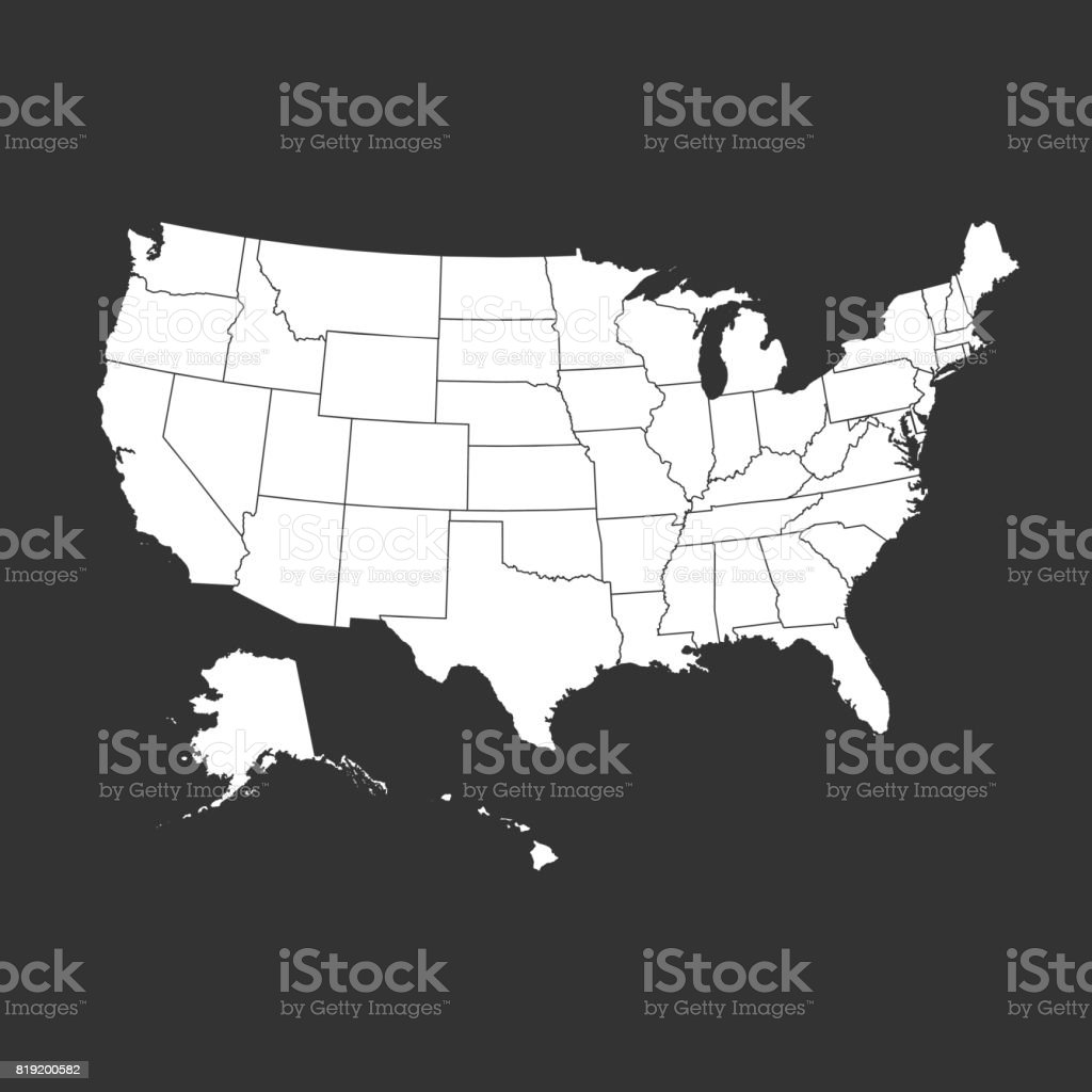 High Detailed Usa Map With Federal States Vector Illustration United ...