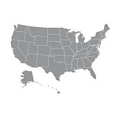 High detailed USA map with federal states. Vector illustration United states of America