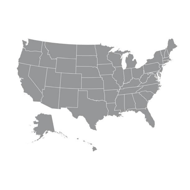 stockillustraties, clipart, cartoons en iconen met hoog gedetailleerde kaart van de v.s. met federale staten. vectorillustratie verenigde staten van amerika - oost