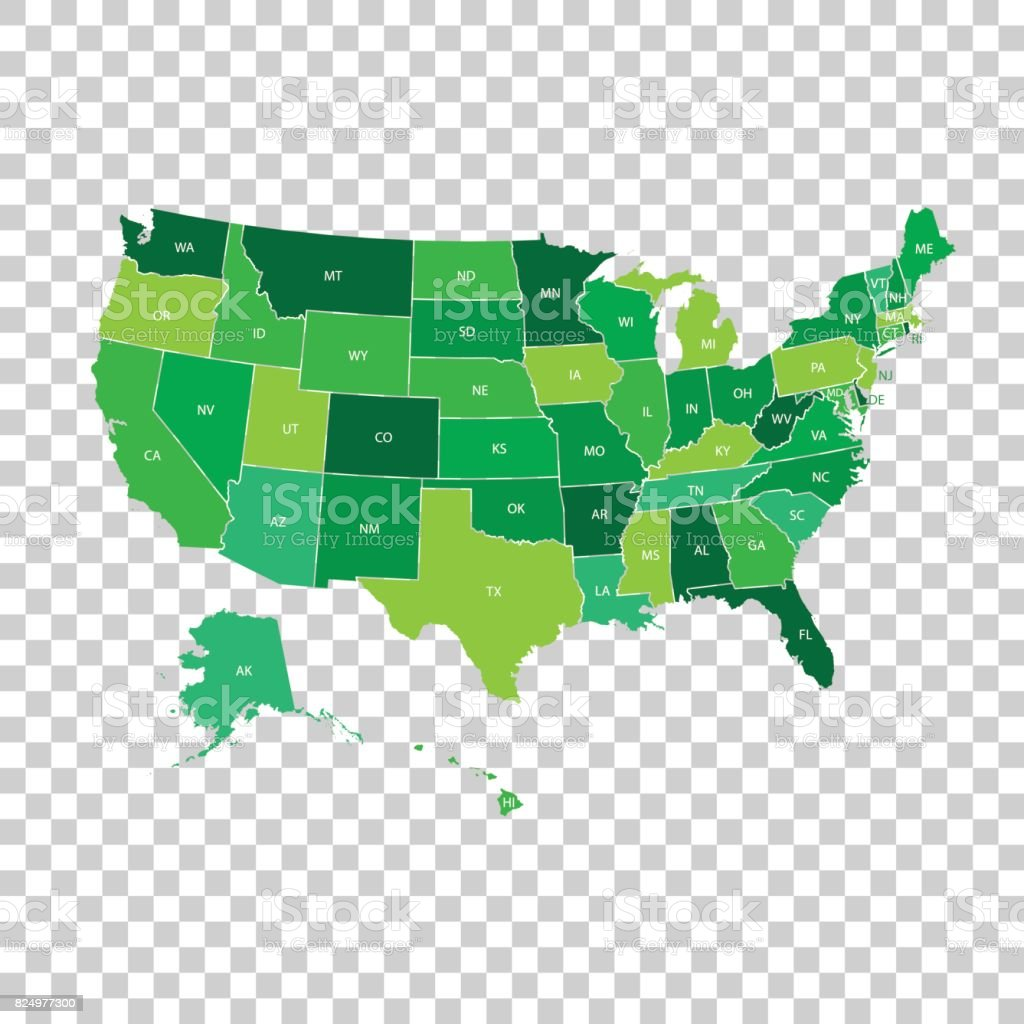 High Detailed Usa Map With Federal States Vector Illustration United States  Of America In Green Color Stock Illustration - Download Image Now