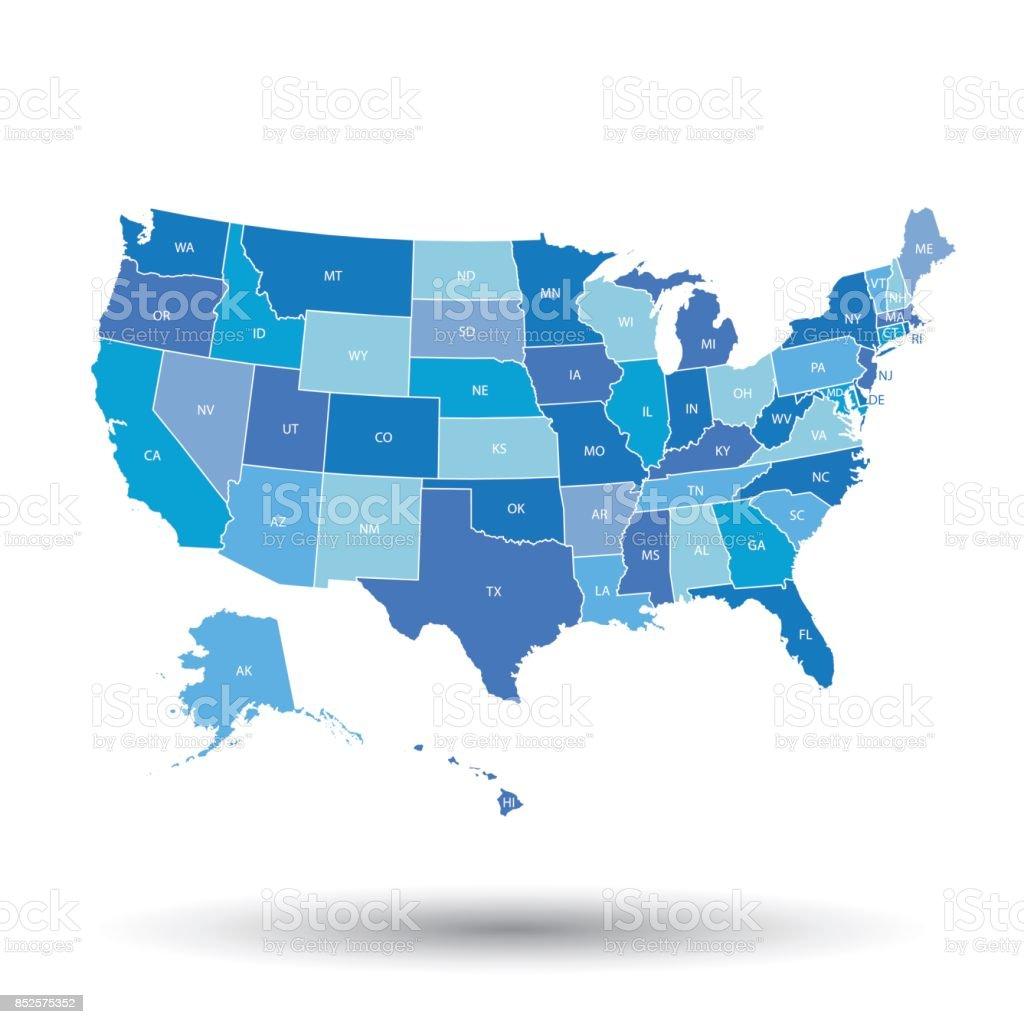 Alta detalhado mapa dos EUA com Estados federados. Ilustração vetorial dos Estados Unidos na cor azul. - ilustração de arte em vetor
