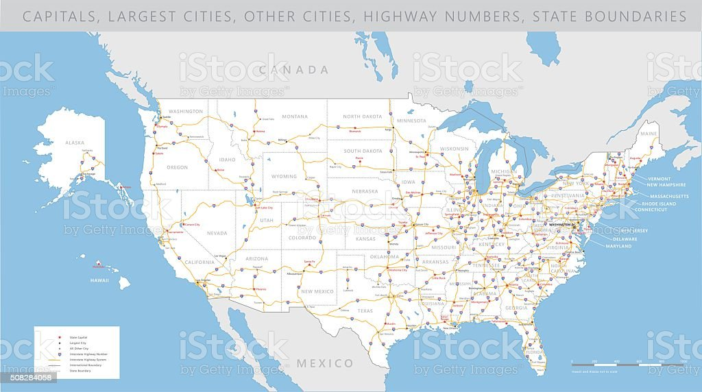 High Detailed Usa Road Map Vector Stock Illustration Download Image Now Istock