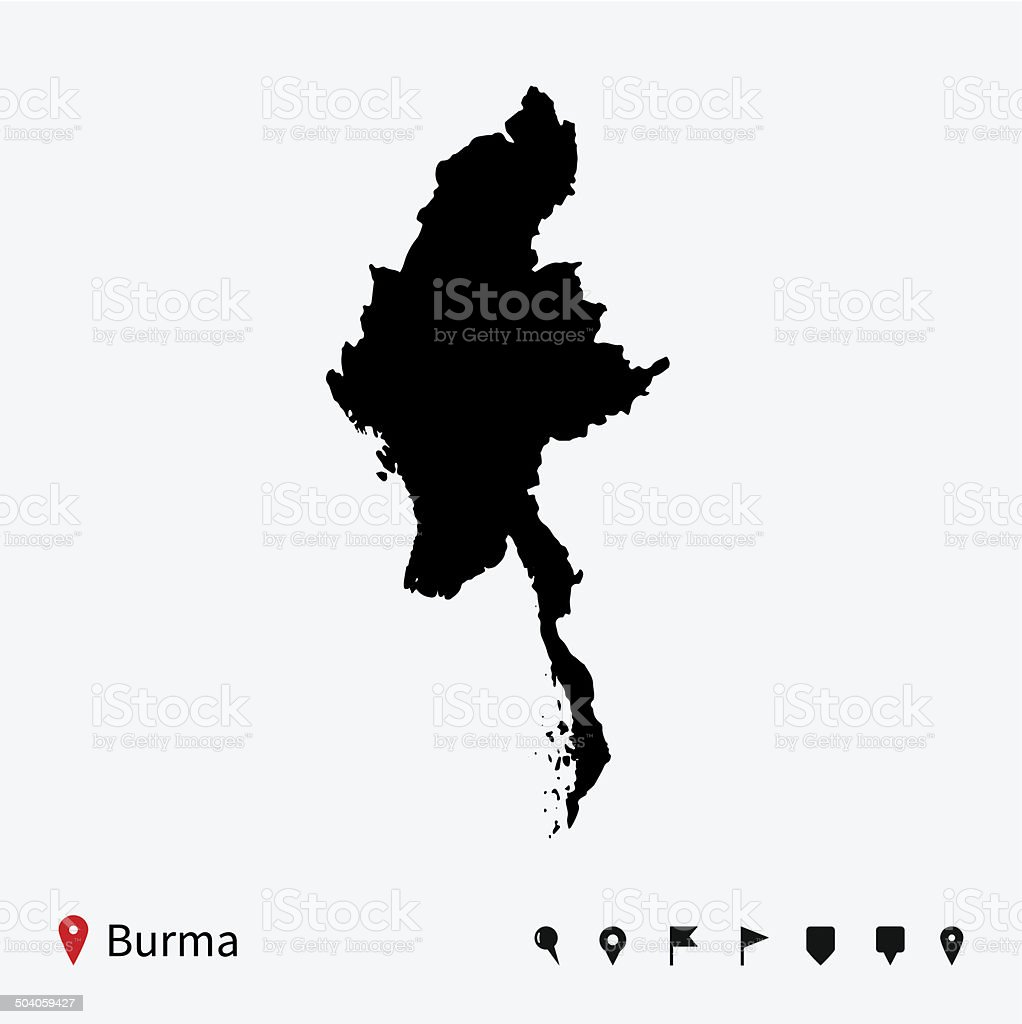High detailed vector map of Burma with navigation pins. vector art illustration