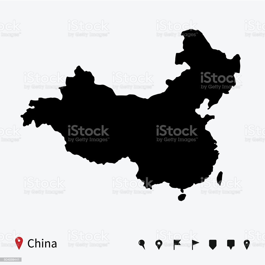 High detailed vector map of China with navigation pins. vector art illustration