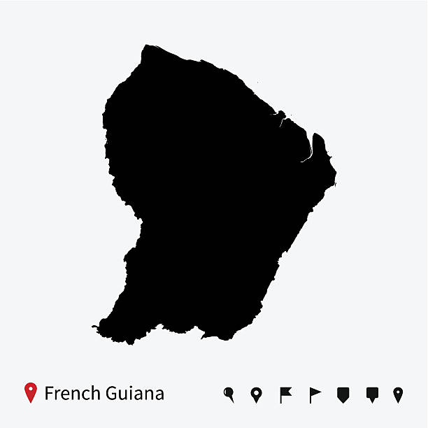 High detailed vector map of French Guiana with navigation pins. vector art illustration