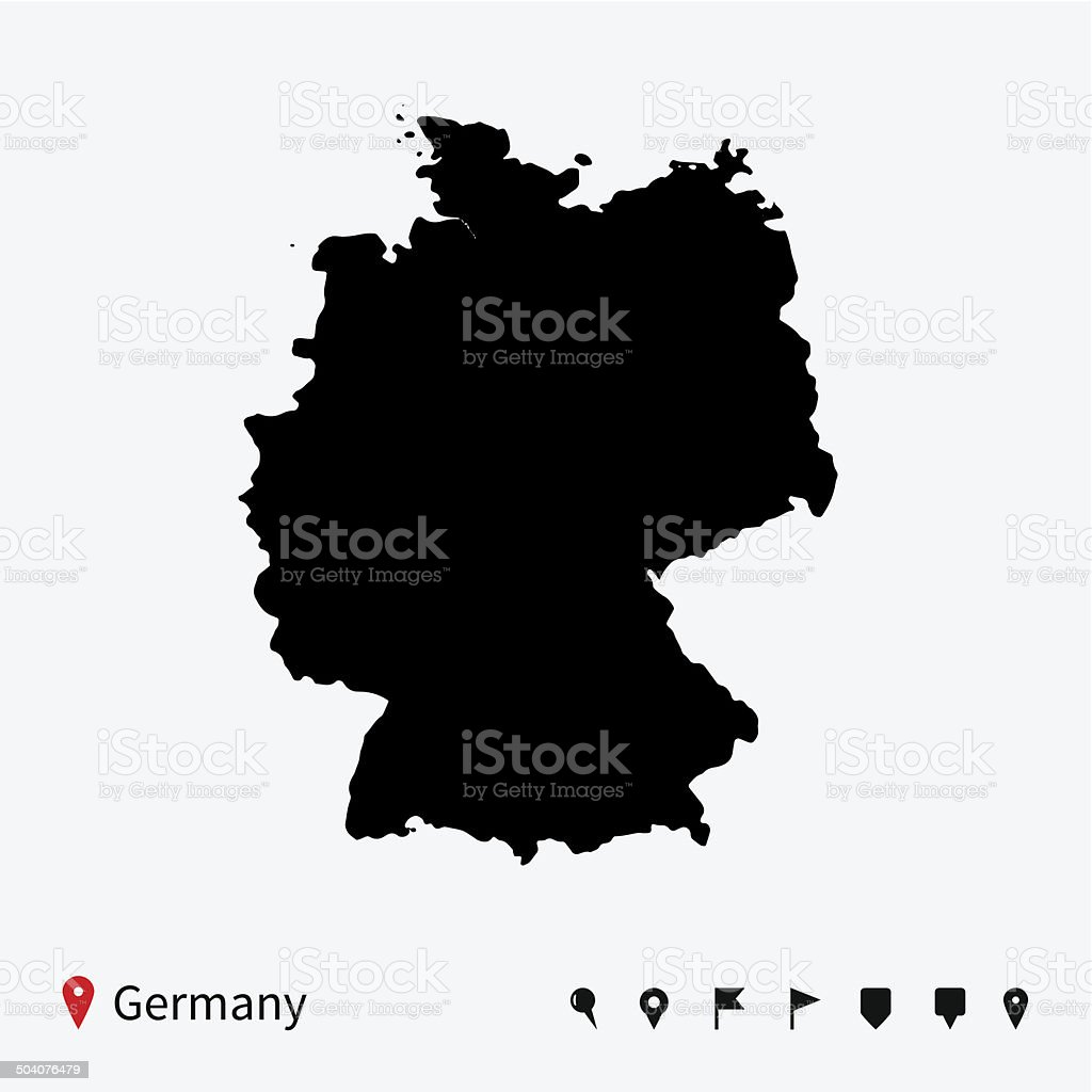 High detailed vector map of Germany with navigation pins. vector art illustration