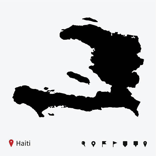High detailed vector map of Haiti with navigation pins. High detailed vector map of Haiti with navigation pins. haiti stock illustrations