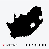 High detailed vector map of KwaNdebele with navigation pins.