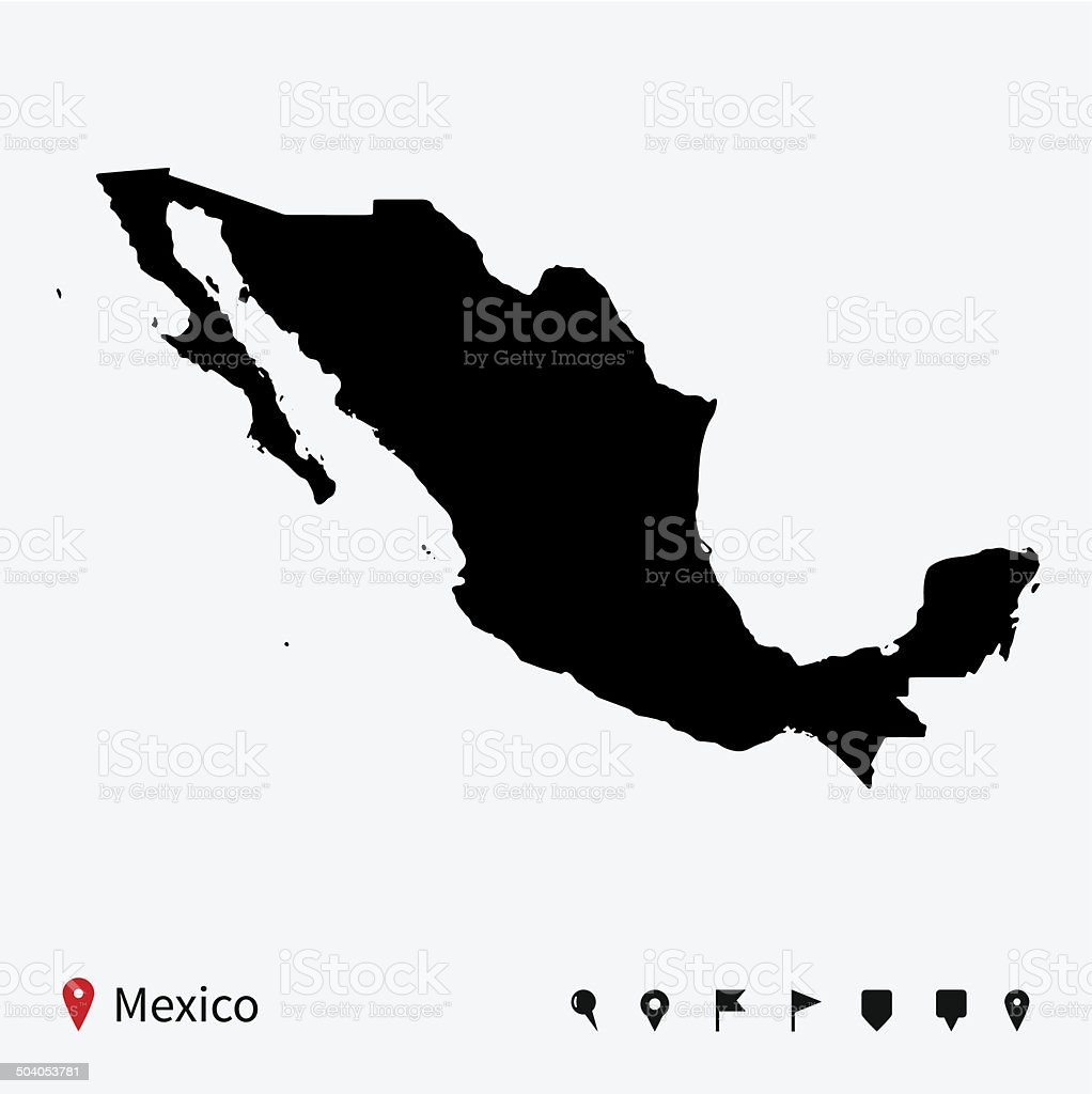 High detailed vector map of Mexico with navigation pins. vector art illustration