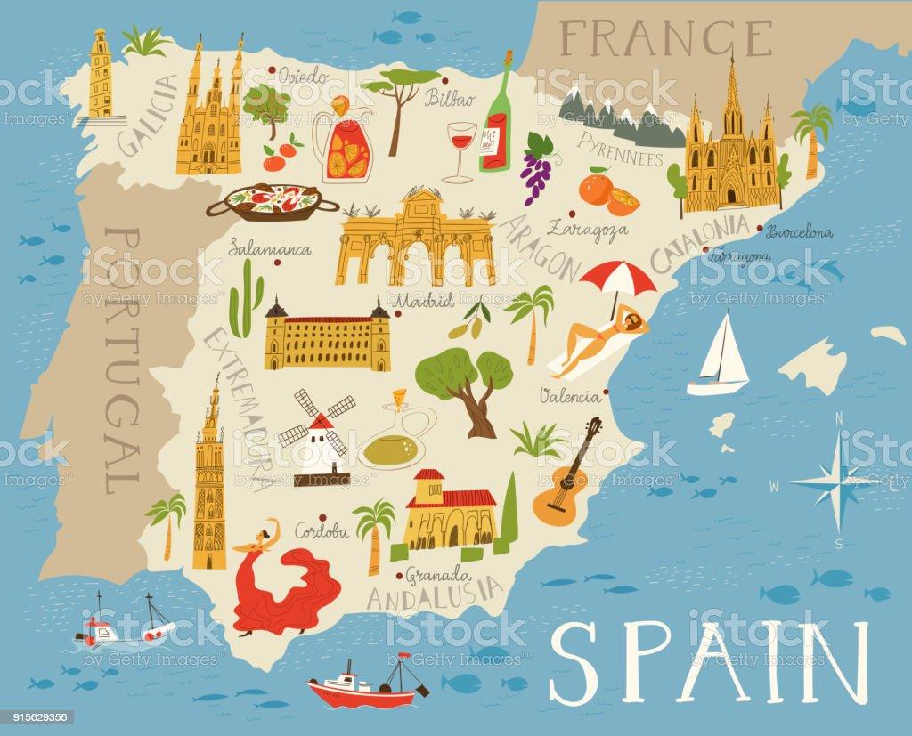 スペインの高詳細なベクトル地図 ベクターアートイラスト
