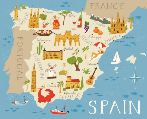 High detailed vector map of Spain vector art illustration