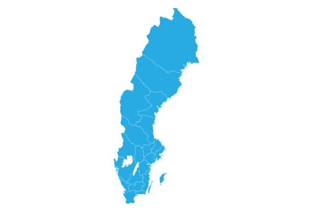 bildbanksillustrationer, clip art samt tecknat material och ikoner med hög detaljerad vektor karta - sweden map