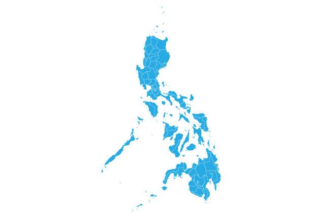 stockillustraties, clipart, cartoons en iconen met hoog gedetailleerde vector kaart - filipijnen
