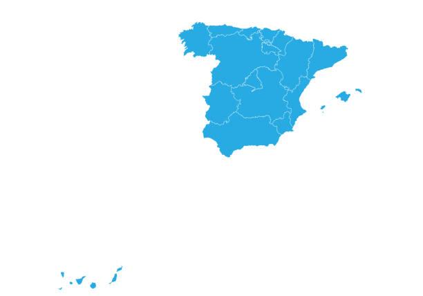 hoch detaillierte vektorkarte - spanien stock-grafiken, -clipart, -cartoons und -symbole