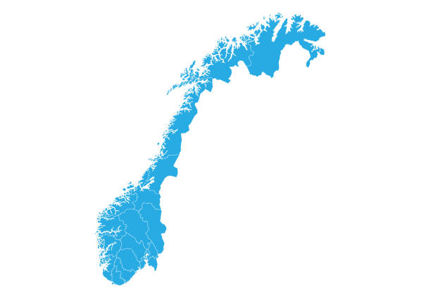High detailed vector map Map of norway. High detailed vector map - norway. norway stock illustrations