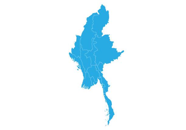 stockillustraties, clipart, cartoons en iconen met hoog gedetailleerde vector kaart - myanmar