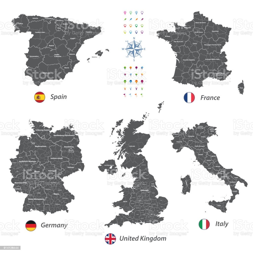 Map Of England France And Italy.High Detailed Vector Maps Of United Kingdom Italy Germany France And Spain With Administrative Divisions All Layers Detachable And Labeled Stock
