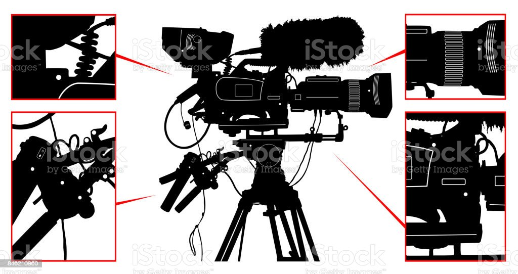 High detailed vector professional television video camera isolated on white. Vector illustration vector art illustration