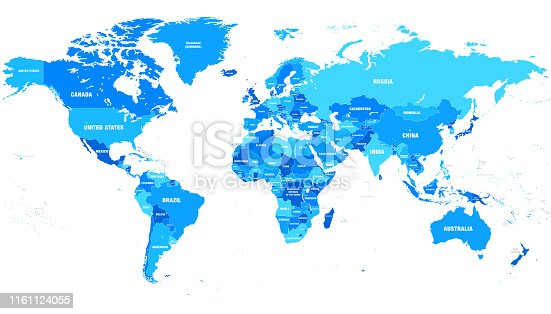 High detailed vector world map with country names and borders