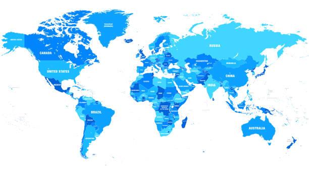 wysoka szczegółowa mapa świata wektorów z nazwami i granicami krajów - mapa świata stock illustrations