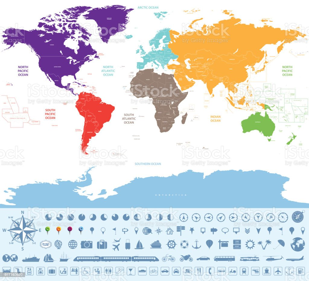 High detailed vector world map with country names and borders stock high detailed vector world map with country names and borders royalty free high detailed vector gumiabroncs Images