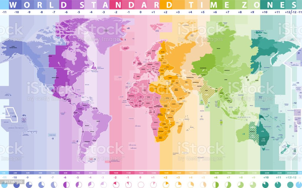 Map Of Asia Time Zones.High Detailed Vector World Time Zones Map Stock Illustration