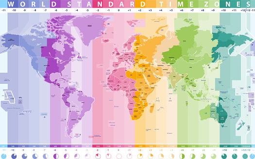 high detailed vector world time zones map