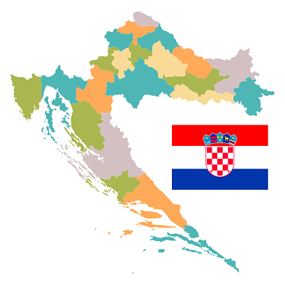 High detailed Vintage Croatia Map with Regions and National Flag