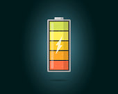 High electric power battery charged energy indicator with lightning icon. Full battery indicating cylinder symbol. Vector accumulator energy level load illustration