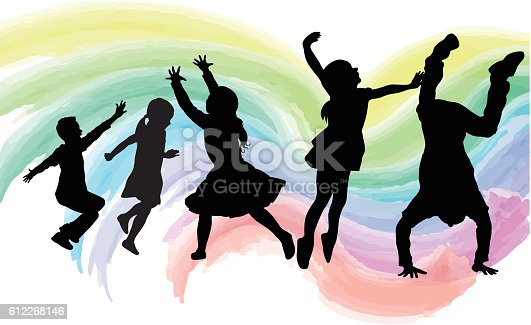 A vector silhouette illustration of a group of high energy children jumping, running, and showing other forms of movement.  They are in front of a pastel rainbow coloured watercolour paint wave pattern background.