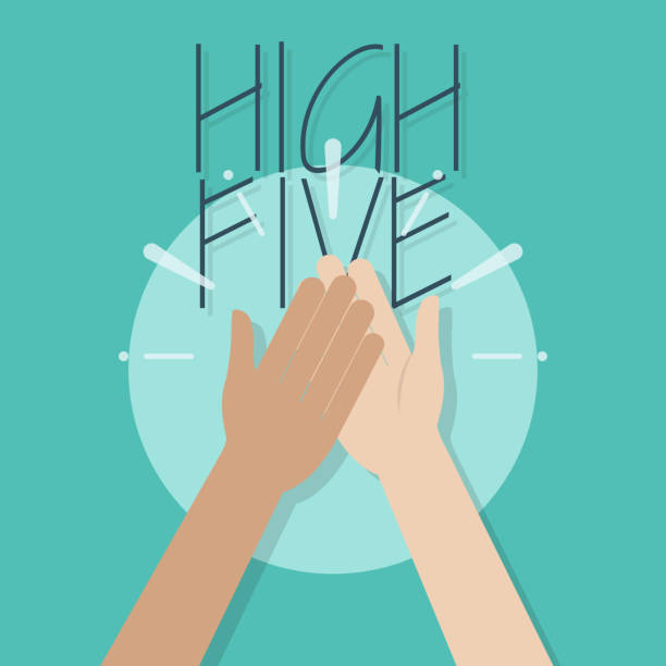 High Five Illustration vector art illustration