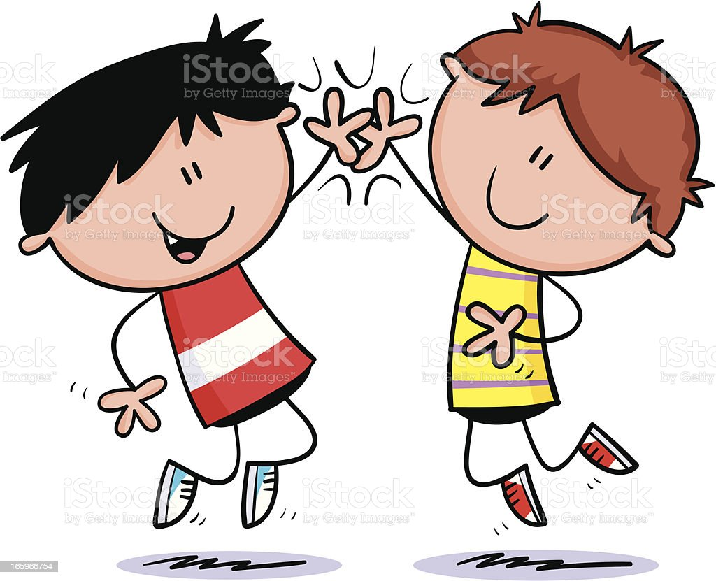 High five kids vector art illustration
