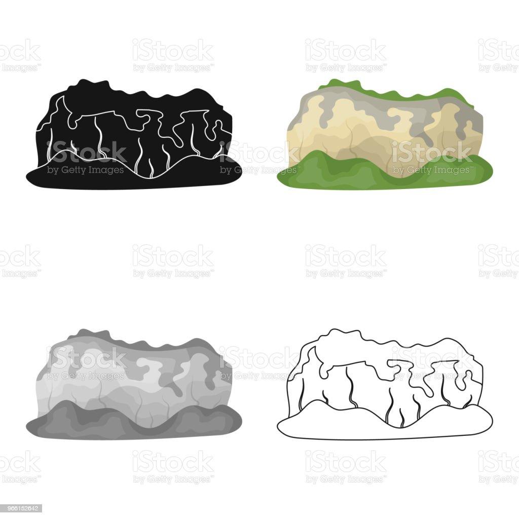 Höga gröna berg. Berg täckt av skogar. Olika bergen enda ikonen i tecknad stil vektor symbol lager web illustration. - Royaltyfri Abstrakt vektorgrafik