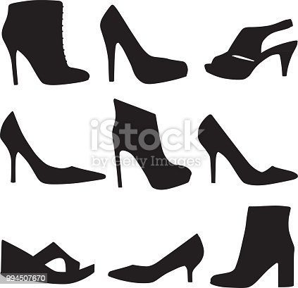 Vector silhouettes of nine different high heel shoes.