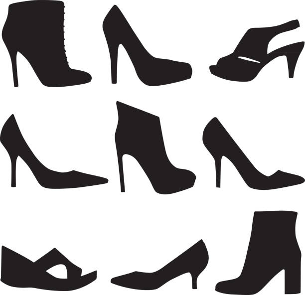 high heel shoe icon set - wysokie obcasy stock illustrations