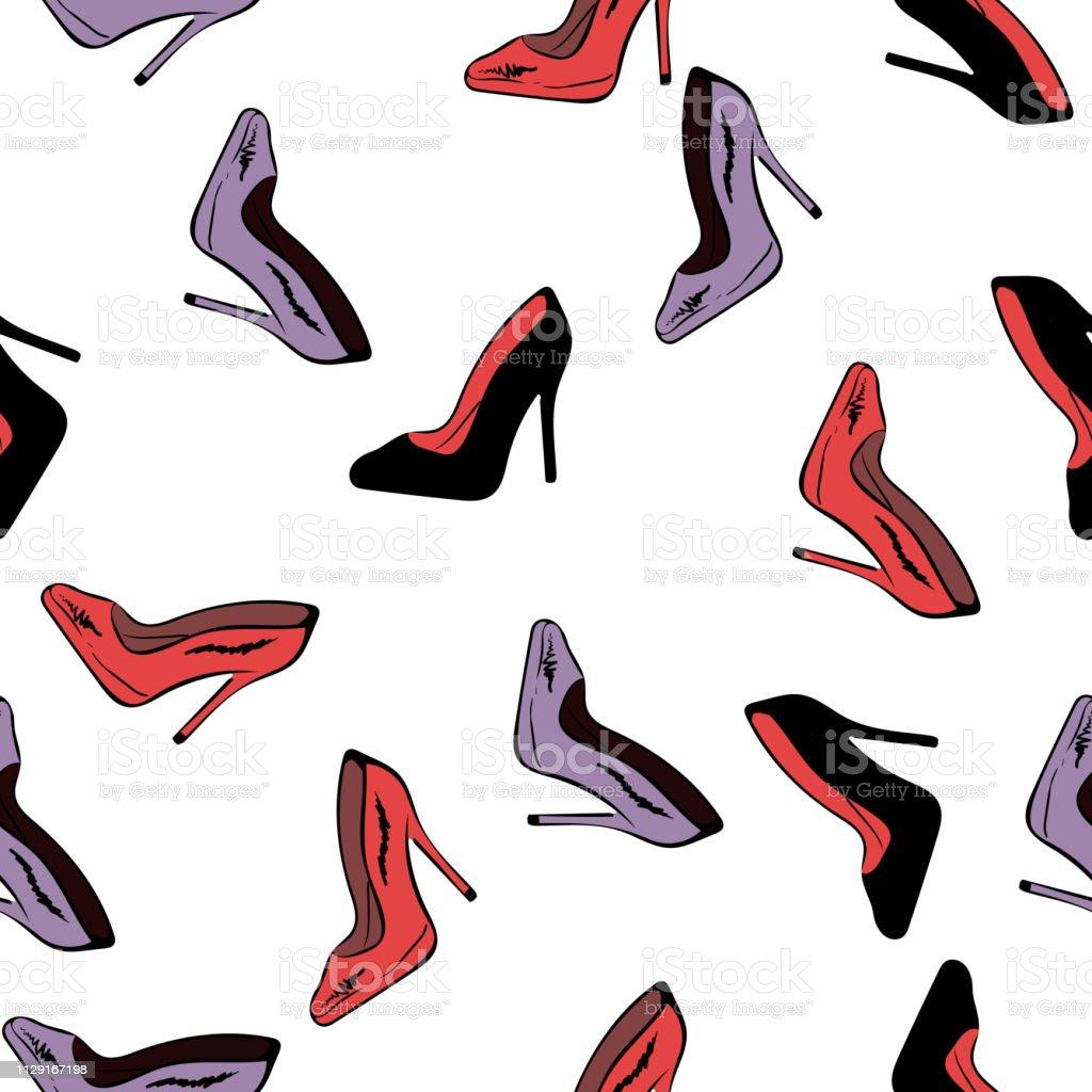 高いヒールの靴のシームレスなパターン白い背景のベクトルで高いヒール靴のシンプルなイラストファッション デザインファブリック繊維壁紙包装紙を印刷します女性の日 イラストレーションのベクターアート素材や画像を多数ご用意 Istock