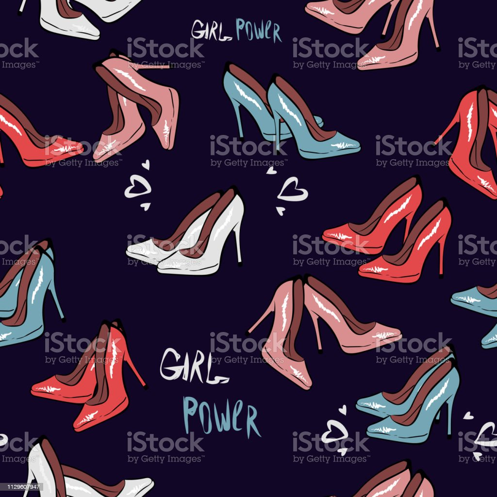High heel shoe seamless pattern. Simple illustration of high heel...