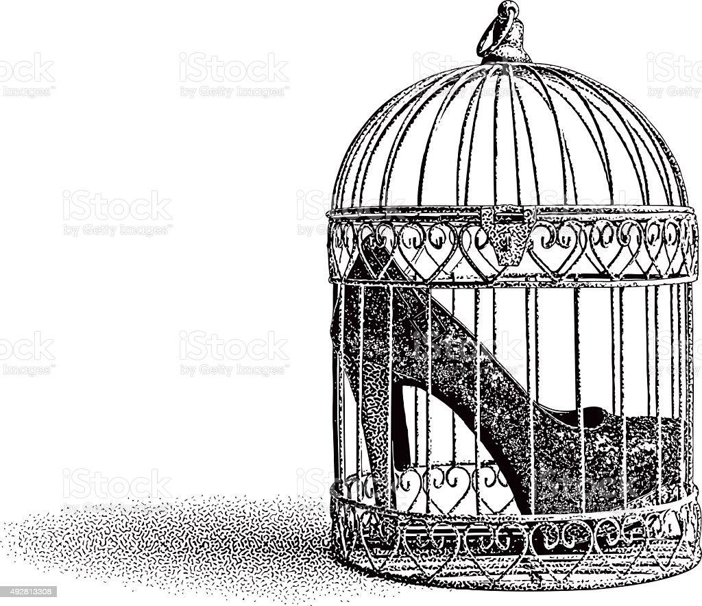High Heel Shoes in Birdcage vector art illustration