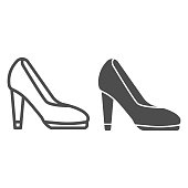istock High heel shoes line and solid icon, shopping concept, female shoes sign on white background, Elegant women high heel shoe icon in outline style for mobile concept and web design. Vector graphics. 1251623095