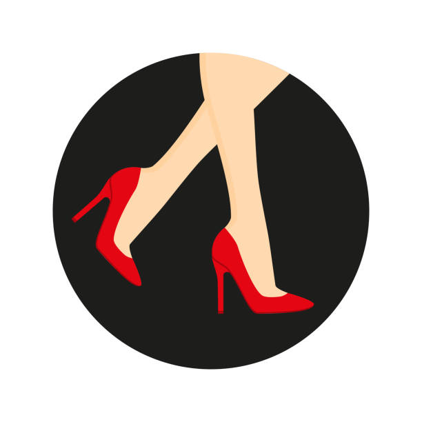 high heel shoes on the legs. - wysokie obcasy stock illustrations
