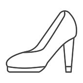 istock High heel shoes thin line icon, shopping concept, female shoes sign on white background, Elegant women high heel shoe icon in outline style for mobile concept and web design. Vector graphics. 1253172567